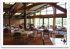 The Japanese style dining hall of Sasai course's clubhouse.